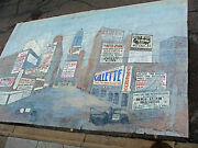 Antique Vintage Hand Painted Vaudeville Theater Backdrop Olio Of A City Street