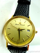 Lucien Piccard 14k Yellow Gold Date Mens Leather Band Quartz Wrist Watch New