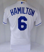 2019 Kansas City Royals Billy Hamilton 6 Game Issued White Jersey 150 P 4317