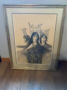 Beautiful Large Framed Patrick Swazo Women Pueblo Dancers Picture Free Shipping