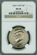 2009-p Kennedy Half Dollar Ngc Ms68 Sms 2nd Finest Registry Low Mintage Rare