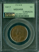 1917 Canada Large Cent Pcgs Mac Ms-64 Rb 8-perl 8-pearl 1st Strike