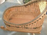 Antique 19 Wicker Wood Hand Painted Holly Baby/doll Christmas Sleigh Cradle