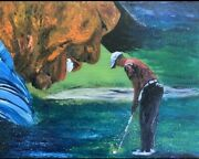 Golfer Celebrates Art Deco Wall Art Gift For Him Oil Paintings Free Shipping