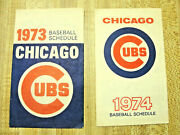 Rare Vintage Pair Of Chicago Cubs Baseball Team Schedules 1973 And 1974