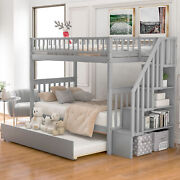 Merax Twin Over Twin Bunk Bed With Trundle And Storage Bedroom Furniture