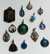 One Lot Old And Vintage Enamel Religious Medals