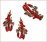 Victorian Repro Silver And Resin Faux Coral Branch Pin And Earrings Set