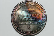 1981 Us Assay Office Rainbow Toned 1 Troy Ounce Fine Silver 999 Round Num5607