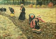 Fu Wenshu B. 1924 -western Style Chinese Oil Painting Of Farm Workers -1986