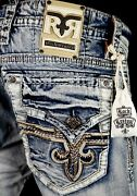 220 Mens Rock Revival Jeans Pevey Leather Inserts Faux Slim Straight 28 X 33