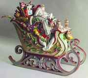 Rare Fitz And Floyd Enchanted Holiday Santa Sleigh Soup Tureen Mint With Ladle