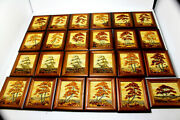 44pcs Mosaic Baltic Amber Pictures Natural Wooden Hand Made 2077 Lot