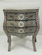 Antique Sideboard Curving Wood Inlaid Mother Of Pearl