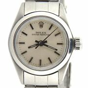 Rolex Oyster Perpetual Ladies Stainless Steel Silver Dial Watch Vintage 6618