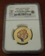 Canada 2009 Gold 75 Ngc Pf70uc Vancouver Olympics - Spirit Torch Colorized