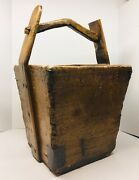 Antique Chinese Wooden Rice Bucket Homemade Square Nails Rustic Primitive