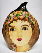 Large 12 1/1 Victoria Bourne Peggy Davies Flower Haired Girl Face Vase Pot