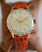 Vintage Zenith 18k Solid Pink Gold Chronograph Cal.156d 38mm Big Face Nice Watch