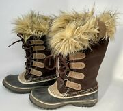 Sorel Joan Of Arctic Womens Snow Winter Brown Suede Leather Boots Size 6, Fits 7