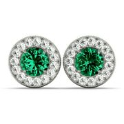 New 14k White Gold Diamond And Round Cut Green Emerald Halo Post Earrings