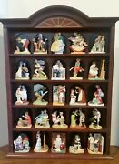 Norman Rockwell Danbury Mint Figurines 25 Pc And Display Case Cabinet Complete Set