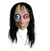 Molezu Creepy Mask Scary Challenge Games Evil Latex Mask With Long Hair Hallow