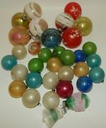 Estate Lot Of 34 Vintage Antique Unsilvered Glass Christmas Ornaments