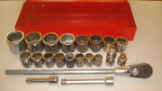 Snap On 23 Pc 3/4 In Drive Sae Socket Set 12 Point 15/16 In - 2+3/8 In