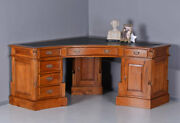 Corner Desk Mahogany Desk Antique Style Leathern Plate Six Drawers And Two Doors