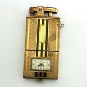 Extremely Rare Vintage 1930and039s Art Deco Ronson Dureum Enamel Watch Lighter