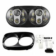 Dual 5.75'' Led Projector Headlight For Motorcycle Road Glide 2004-2013