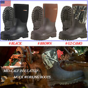 Hisea Men And Women Work Boots Rubber Neoprene Insulated Rain Snow Hunting Boots