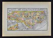 1884 Mcnally Map North Carolina Raleigh Beaufort Charlotte Cape Hatteras Troy