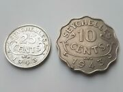 Seychelles 10 And 25 Cents 1943 Collectable Wwii Aunc Low Mintage Very Rare Coins