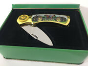 John Deere Vintage Tractor Stainless Pocket Knife With Commemorative Jd Tin Case