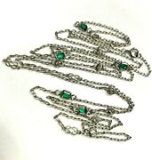 Gorgeous 36 Platinum Mine Cut Diamond And Emerald By The Yard Necklace