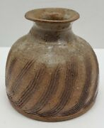 Vtg Handcrafted Artisan Pottery Small Jug Container Cr Signed Butterfly Stamp
