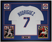 Ivan Pudge Rodriguez Autographed And Framed White Rangers Jersey Jsa Coa