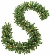 9-foot Christmas Garland Artificial Wreath With Lights Stairs Home Rattan Decor