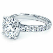 3.80ctw Round Brilliant Micro Prong Set Cathedral Moissanite And Diamond Engage...