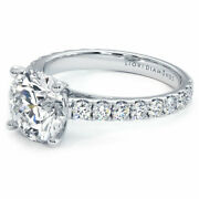 2.80ctw Round Brilliant Micro Prong Set Cathedral Moissanite And Diamond Engage...