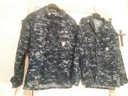 2 Us Navy Blue Digital Camouflage Camo Working Blouse Womens Official Large Reg