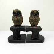 Vintage Owl Bookends Wood Carving Mid Century Brown Living Room Decor Great Gift