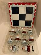 Vintage Home Interiors Christmas Snowman And Santa Metal Ornaments And Chess Board