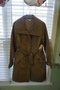 Coldwater Creek Nwt Sz Xl/16 Tan Long Light Quilted Down Alternative Coat Jacket