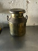 Vintage Daw's Creamery Brass Milk Jug Container With Lid