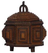 A Very Folky Small Octagonal Tramp Art Box. An Unusual And Well Made Piece.