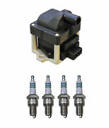 Denso Ignition Coil And 4 Iridium Power Spark Plugs 0.044 Kit For Vw 1.8 L4