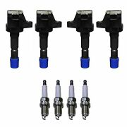 Denso 4 Ignition Coils 4 Double Platinum Spark Plugs 0.044 Kit For Honda Fit 1.5